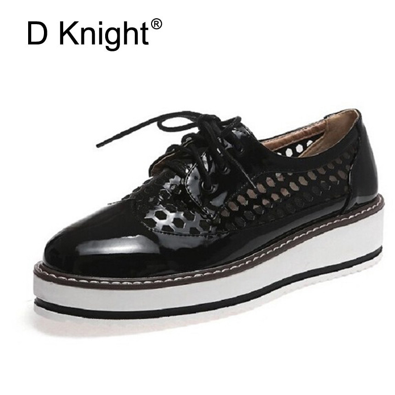 New Oxford Shoes For Women Summer Casual Hole Shoes Woman Lace Up Flats Sapato Oxford Feminino Platform Brogue Shoes Size 34-43 summer women shoes casual cutouts lace canvas shoes hollow floral breathable platform flat shoe sapato feminino lace sandals