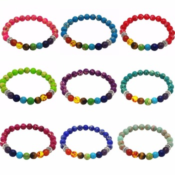 8mm Beads Strand Bracelets for Women Men Yoga Balance Energy Healing Reiki Prayer Stone 7 Chakra Bracelet Drop Shipping