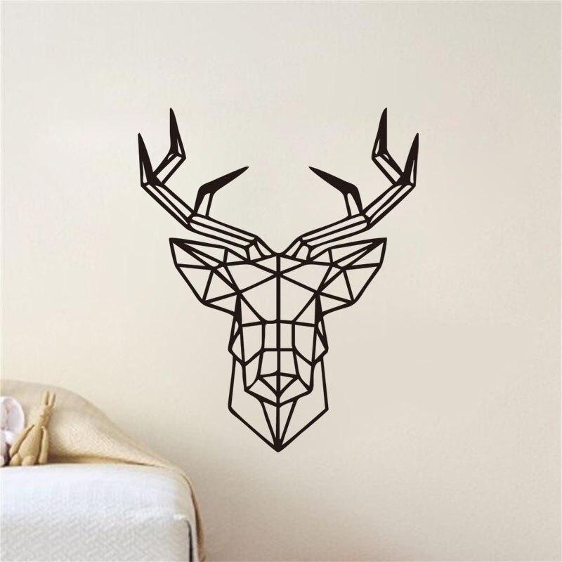 Geometry Deer Wall Stickers 3D Home Decor Kids Room Nursery Geometric Wall Decals Vinyl Adhesive Wall Murals