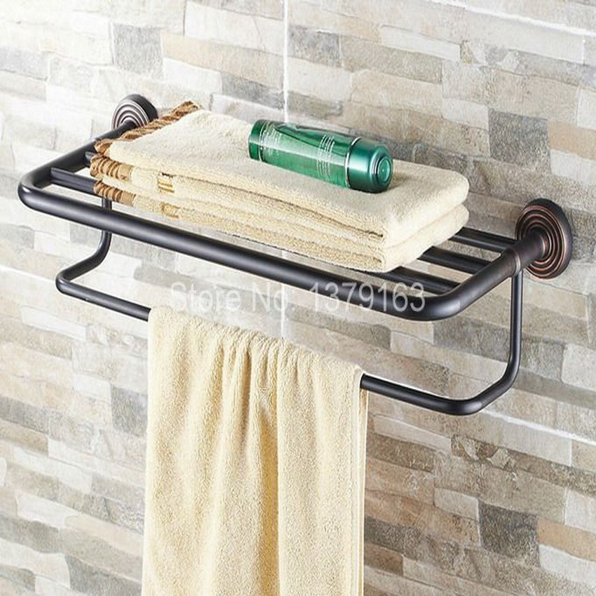 Bathroom Accessory Black Oil Rubbed Brass Wall Mounted Bathroom Towel Rail Holder Storage Rack Shelf Bar aba120