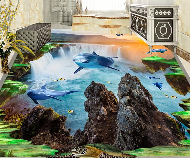 3d pvc flooring waterproof wallpaper landscape custom 3d flooring Dolphin birds self adhesive wallpaper 3d floor murals bathroom high quality 3d flooring vinyl custom 3d floor bathroom landscape non slip wear thickend self adhesive wallpaper
