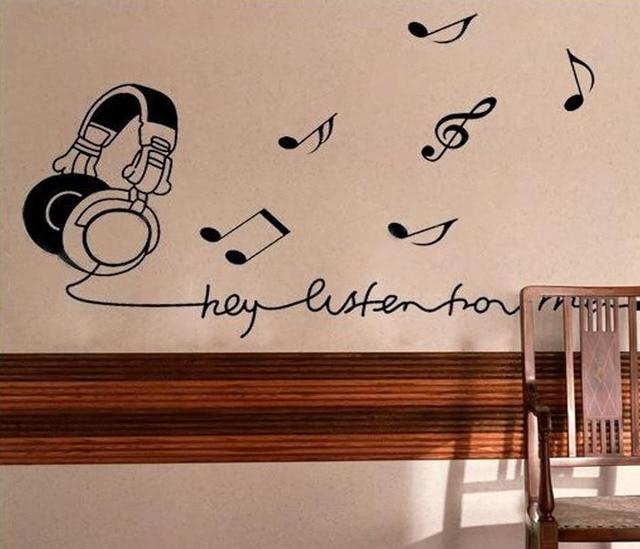vinyl wall stickers music room earphone home decor bedroom creative