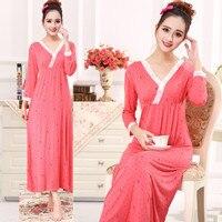 Spring and autumn sexy modal cotton ultra long nightgown female plus size princess three quarter sleeve sleepwear