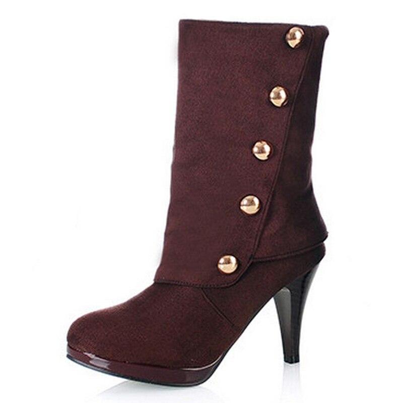 Flock Femme rouge Botas Talons Rivets 43 Femmes Courtes Moitié D'hiver Noir Haute bleu Dame Bottes marron 31 Taille Chaussures Ax0YqpU