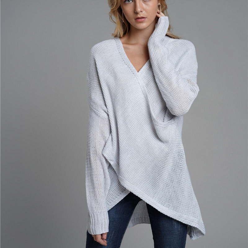 2019 New Women 39 s Autumn Criss Cross Sweater Loose V Neck Female Pullover Fashion knitted Sweater Long Sleeve Casual Clothes in Pullovers from Women 39 s Clothing