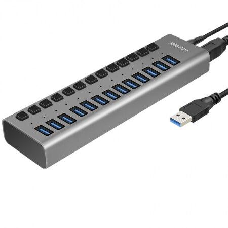Acasis Ad Alta Velocità 13 Porte USB 3.0 Hub USB HUB USB Splitter USB con 12 V 6A Cavo di Alimentazione