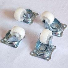 """1 шт. универсальные поворотные ролики """" мебельные колёсные ролики белые PP нейлоновые двойные роликовые колеса для платформы тележки стул фиксированный шарнир"""