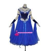 Бального танца Конкурс платье Одежда высшего качества фламенко Танцы одежда для Для женщин синий Стандартный Танго вальс Бальные платья