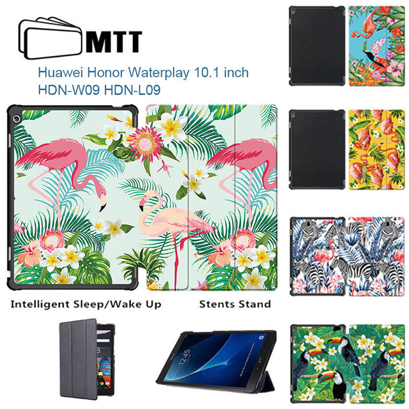2017 Honor WaterPlay 10.1 Print Flamingo PU leather cover for Huawei Honor WaterPlay 10 HDN-W09 HDN-L09 case Smart With stand