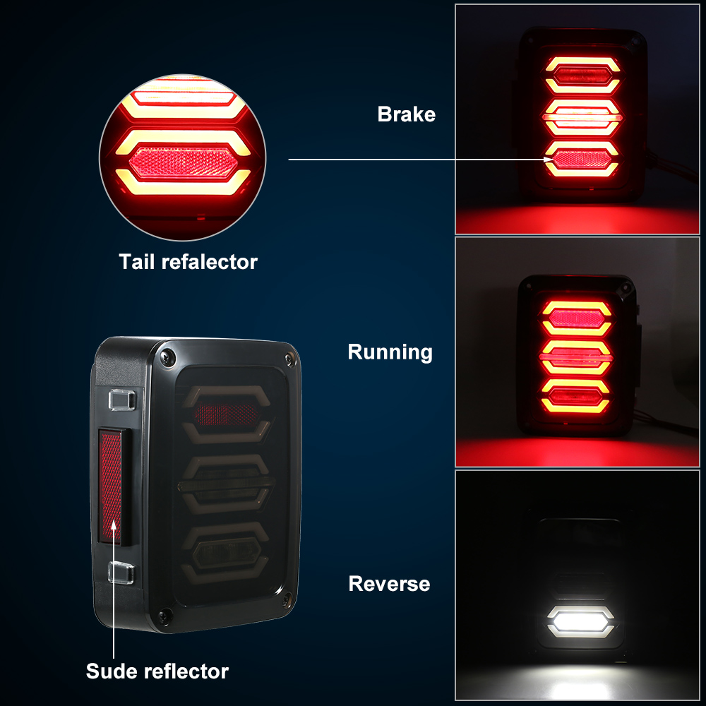 Pair of Smoked LED Rear Tail Lights Brake Turn Signal Reverse Lamps for Jeep Wrangler JK 07-17 US Version 2 pcs led rear lights us europe version brake reverse tail lamps for atv 4x4 truck off road automobile auto for jeep wrangler
