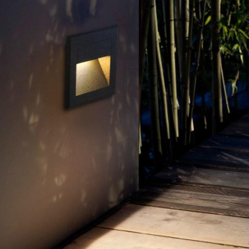 modern design led step light waterproof outdoor stair lighting aluminum black square lighting fixture step light outdoor
