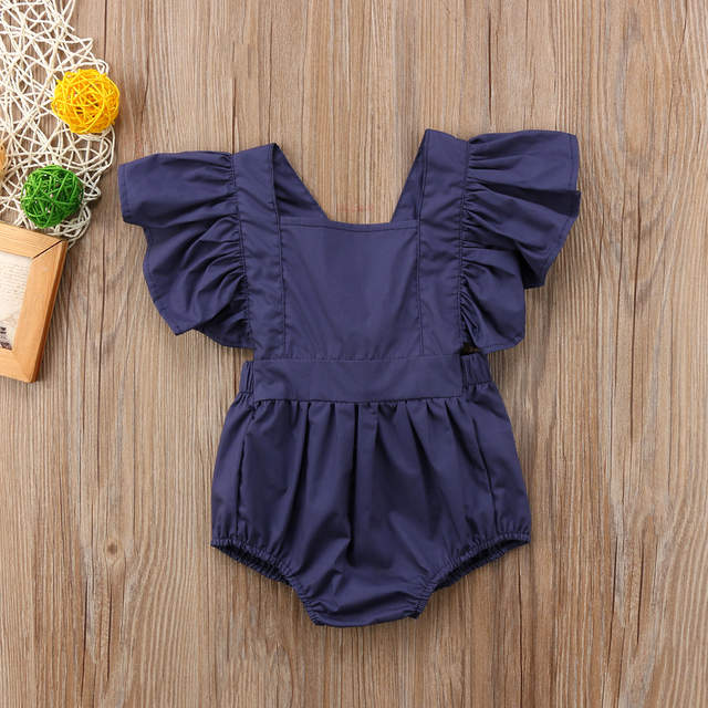 59828ec79 Online Shop Summer Navy Blue Ruffles Newborn Baby Girls Sunsuit Back ...