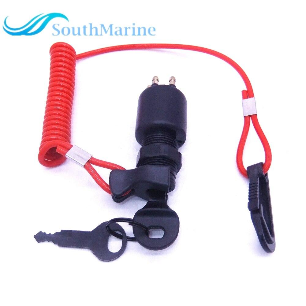 Pour OMC Johnson Evinrude 40-200HP moteur hors-bord 5005801 175974 interrupteur d'allumage avec assemblage de clé avec lanière