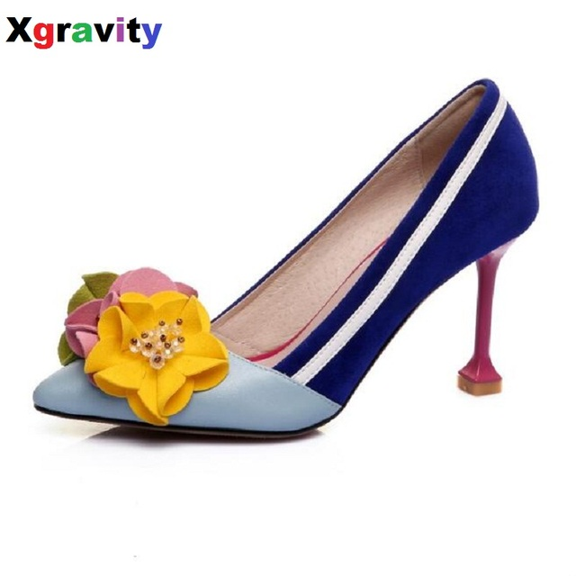 50263b7b43da New Arrival Lady Fashion High Heel Shoes Pointed Toe Dress Shoes Elegant  Flower Closed Toe Party Summer Evening Sandals C131