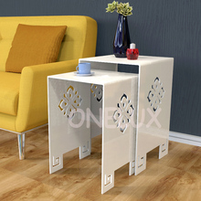 (2 Pieces/lot) Waterfall Engraved Acrylic Nesting Side Table,Lucite Plexiglass Occasional Sofa Riser Tables – ONE LUX