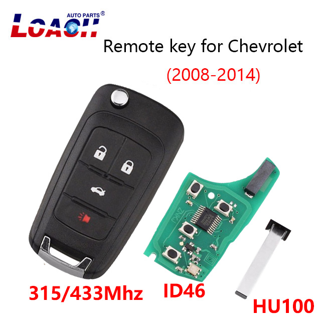 4 Buttons Car Remote key Fob 433MHz/315Mhz ID46 For Chevrolet Malibu Cruze Aveo Spark Sail 2008 2014  Flip Key HU100 Blade logo|Car Key|Automobiles & Motorcycles - title=
