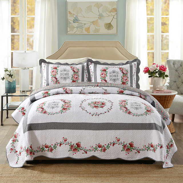 Chausub New Quality 100 Cotton Quilt Set 3pcs Embroidery Quilted