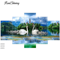 REALSHINING 5D Diy Diamond Painting Cross Stitch Swan Mother Needlework Decorative Full Square Diamond Embroidery Mosaic FS224