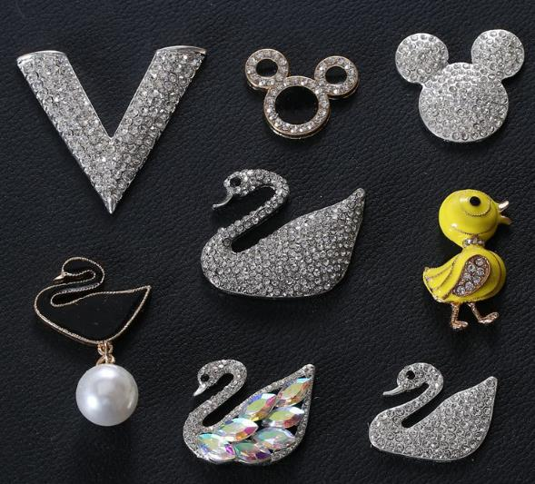 Buttons Obliging Full Drill Swan Animal Alloy Buttons 50pcs/lot Flatbac Metal Rhinestone Button Embellishments For Scrapbooking Diy Accessories Buy One Give One Apparel Sewing & Fabric