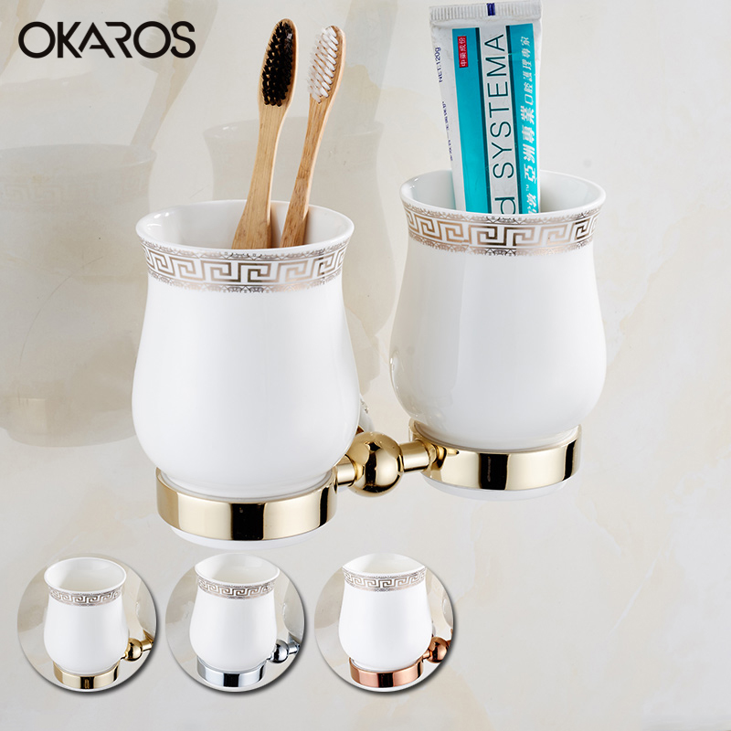 OKARO Wall Mounted Bathroom Double Ceramic Cup Holder Toothbrush Tumbler Holder Brass Gold/Rose Golden/Chrome Bathroom Holder luxury golden brass three cup holder luxury style golden copper toothbrush double tumbler 3pcs cup holder wall bath cup rack