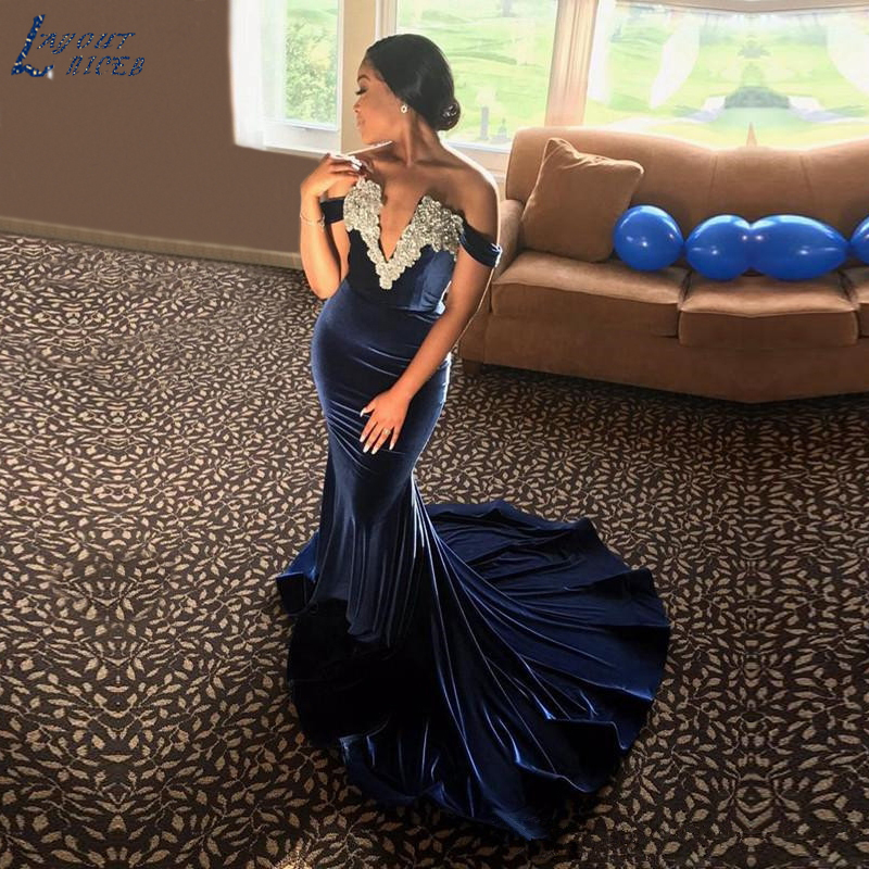 AED1217 Navy Blue Velvet Mermaid Long Evening Dress Off the shoulder Luxury Beads Crystal Prom Gowns