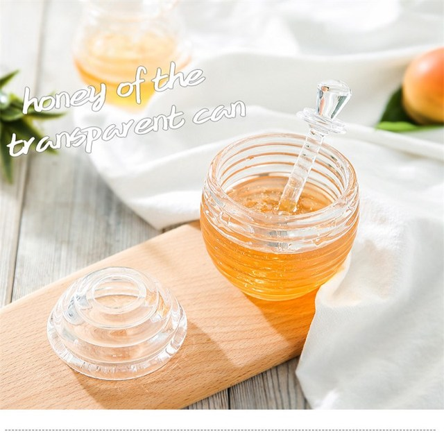 Pot de confiture de jus de miel   Distributeur de miel, pot de confiture de jus de miel Transparent, cuillère en acrylique, bouteille nid dabeille, réservoir dextrusion de miel, Muffin compagnon