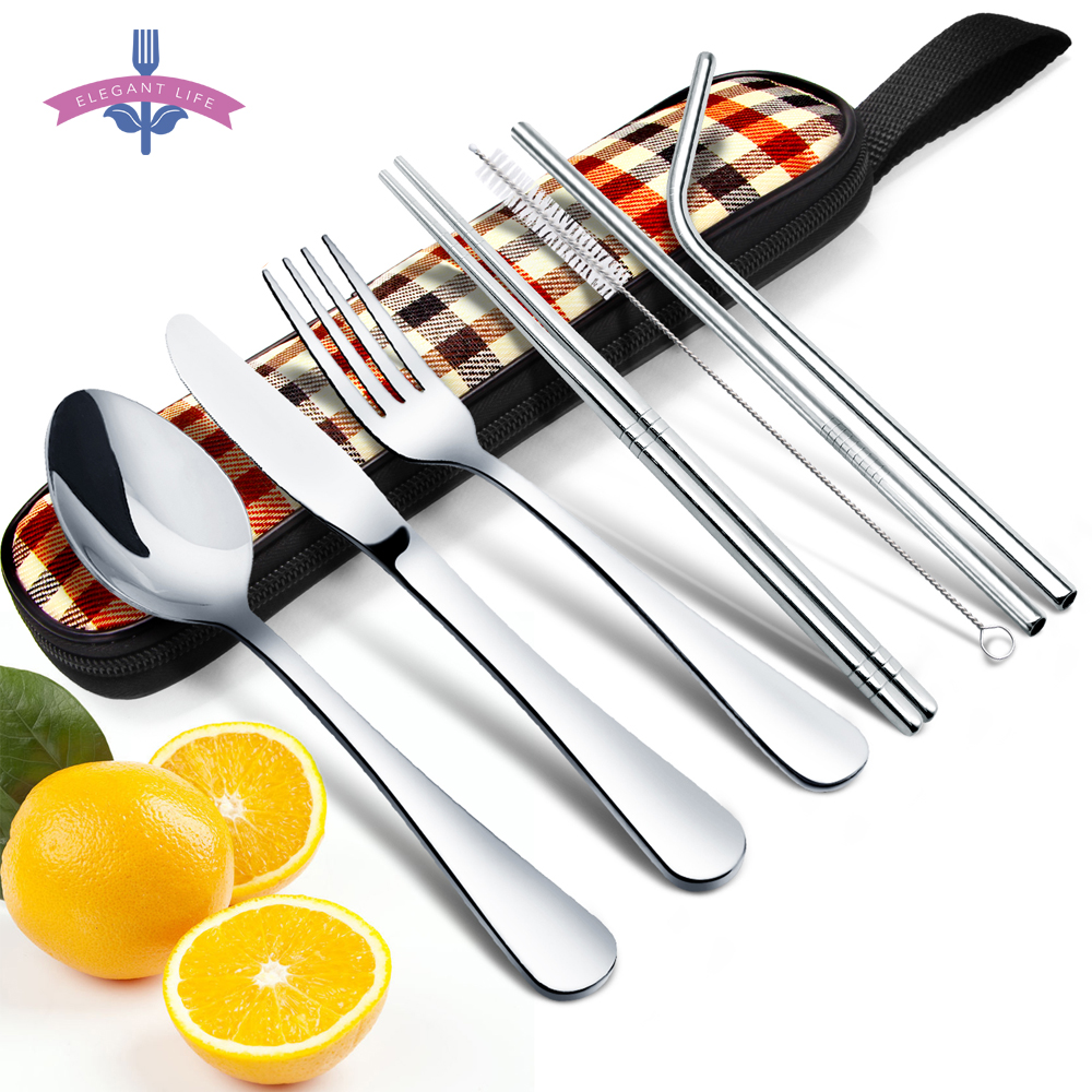8PCS Dinnerware Set Travel Cutlery Set Reusable Utensils Stainless Steel Fork Knife Spoon Chopsticks Straw with Cleaning Brush
