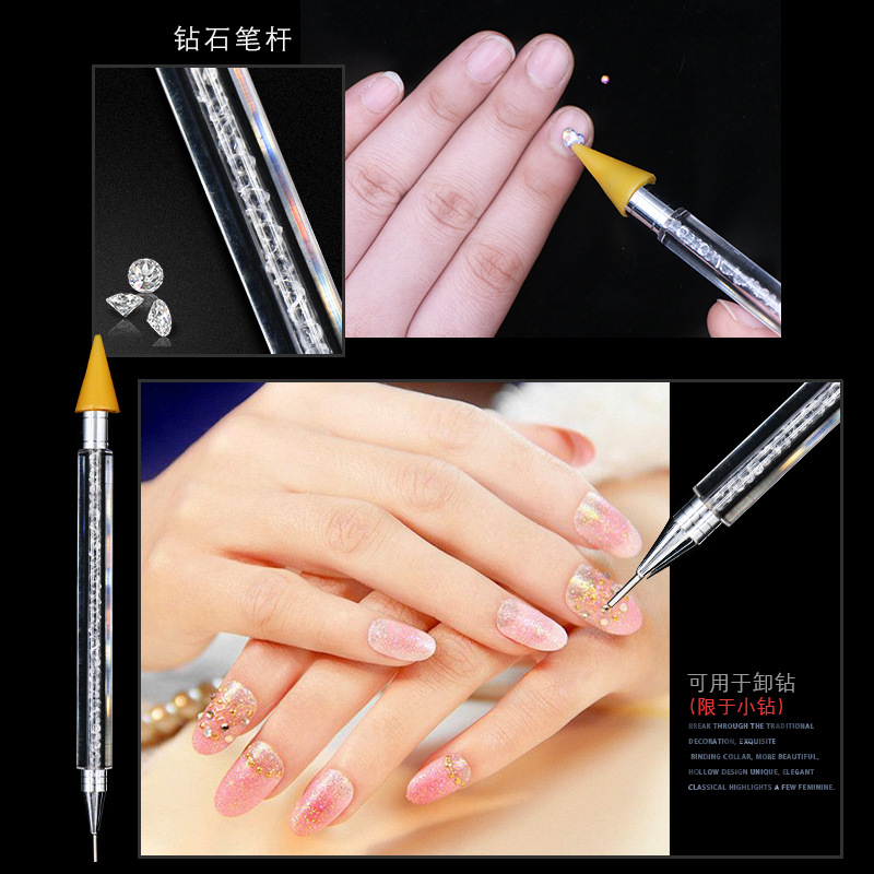 1 Pcs Double ended Nail Rhinestone Studs Picker Wax Pencil Crystal Beads Wood Handle For Nail Art Decoration Nail Art Pen DTB14 in Dotting Tools from Beauty Health