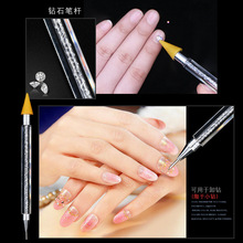 1 Pcs Double-ended Nail Rhinestone Studs Picker Wax Pencil Crystal Beads Wood Handle For Art Decoration Pen DTB14