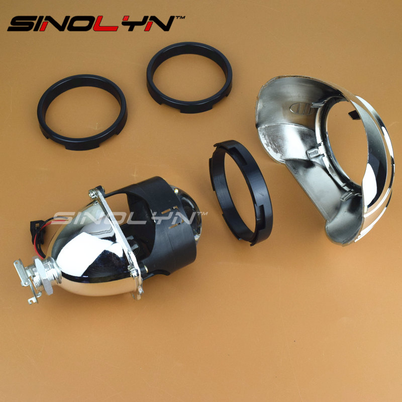 Sinoyn 2PCS Projector Lens Adapter Ring Centric Rings For Install 2.5'' Projector Lens To 3.0'' Shrouds Black Headlight Retrofit
