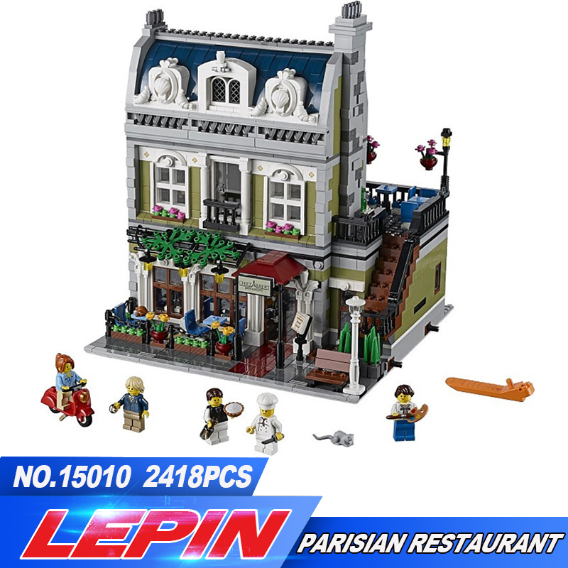 DHL Lepin 15010 Creator Expert City Street Parisian Restaurant Model Building Kits Blocks Toy Compatible  10243 dhl new 2418pcs lepin 15010 city street parisian restaurant model building blocks bricks intelligence toys compatible with 10243