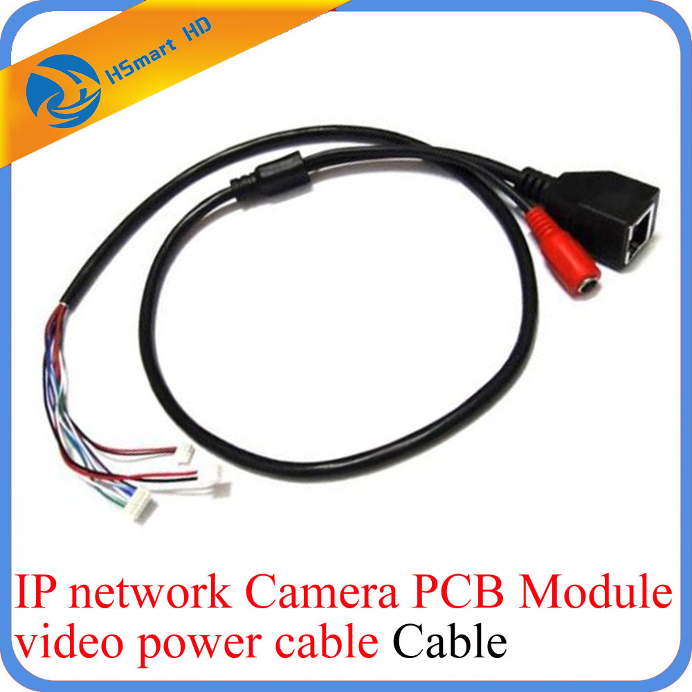 CCTV IP Network Camera PCB Module Video Power Cable RJ45 Female & DC Male Black