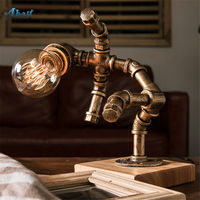 American loft decor Falling robot iron tube table lamp for coffee study retro bedroom desk lamp creative country table light e27