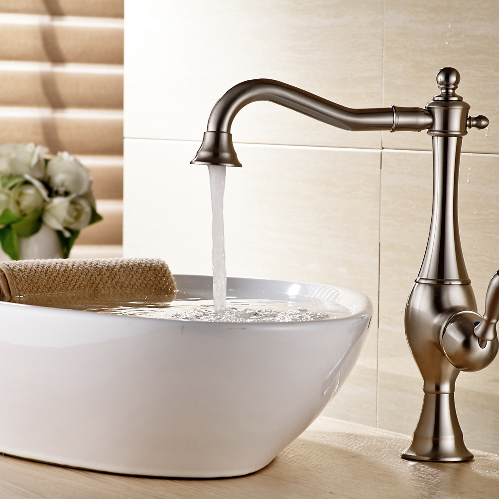 Wholesale and Retail Nickel Brushed Bathroom Sink Faucet Single Handle Hot and Cold Water Mixer Tap bathroom sink faucet single handle mixer tap hot and cold water mixer tap nickel brushed