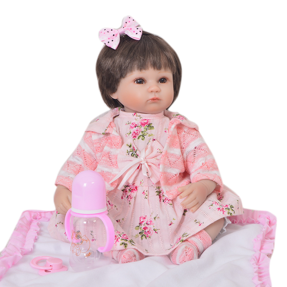 43 cm Silicone Reborn bébé poupée Realista bebe poupées bonecas princesse enfants anniversaire cadeau tissu corps fille poupée