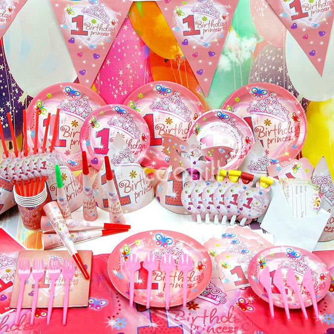 90pcsset 1st Birthday Princess Baby Girl Party Decorations Set