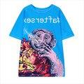 2016 Nuevas Mujeres de La Moda Camiseta Larga Mono Que Fuma Impreso Blusa Feminina Verano Harajuku Estilo de Manga Corta Camisetas T3127