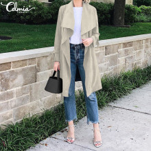 2019 Celmia Women Casual Solid Autumn Outerwear Fashion Trench Sashes Slim Fit O
