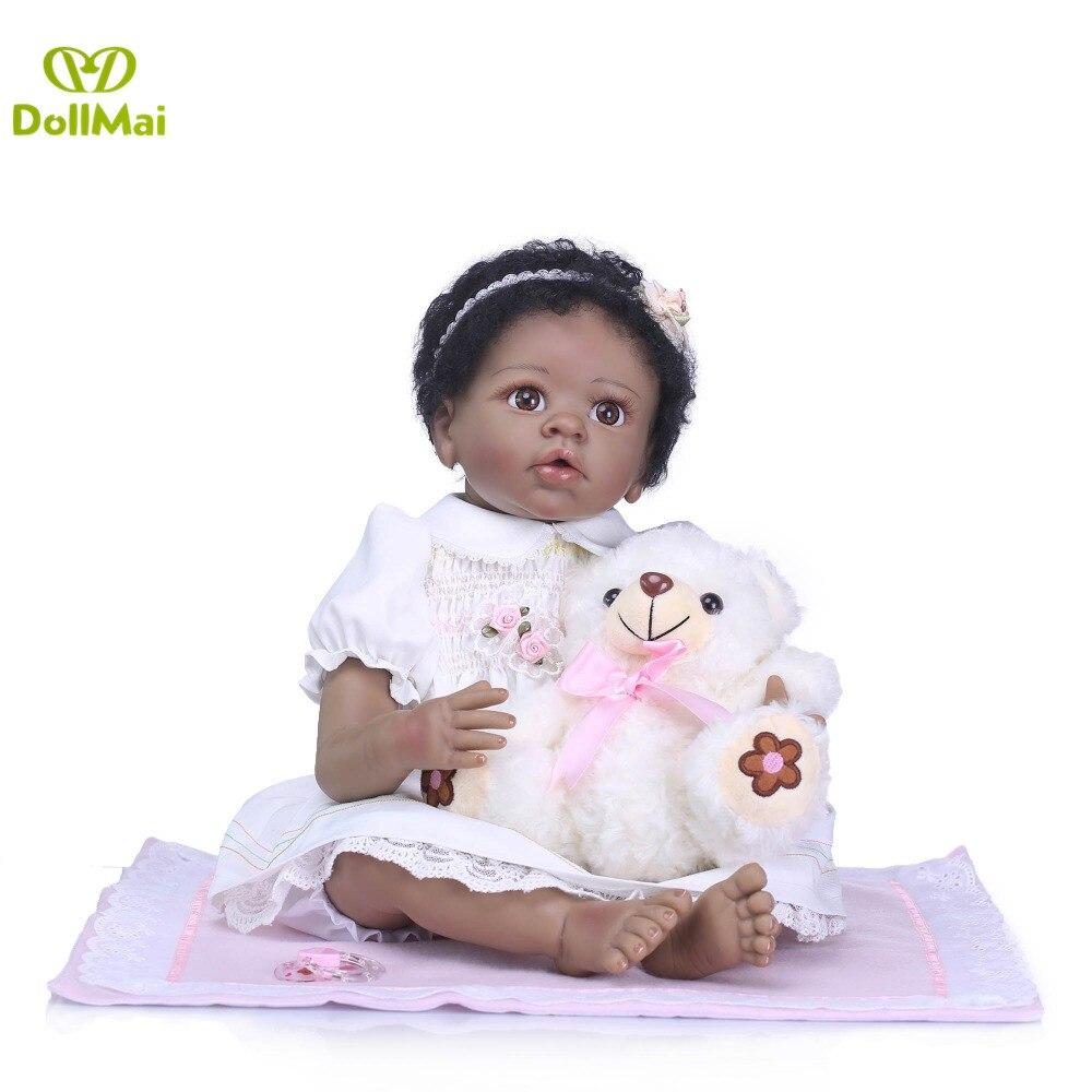 Black dolls reborn 2255cm soft silicone reborn baby dolls lifelike girl reborn african doll toys for child gift with bearBlack dolls reborn 2255cm soft silicone reborn baby dolls lifelike girl reborn african doll toys for child gift with bear