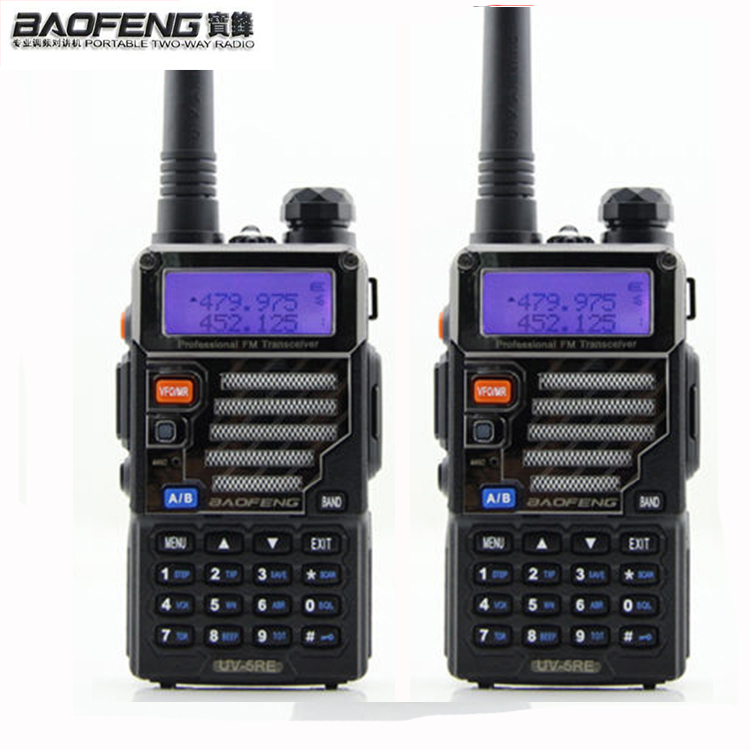 HOT 2 Pcs 5W 128ch Two Way Radio Walkie Talkie Baofeng Uv 5re For Hunting Dual