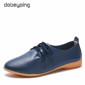 Image 2 - dobeyping 2018 New Women Shoes Genuine Leather Womens Shoe Lace Up Female Flats Pointed Toe Woman Oxfords Large Size 35 44