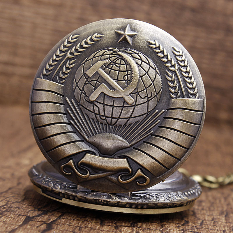 Vintage USSR Soviet Badges Sickle Hammer Pocket Watch Necklace Bronze Pendant Chain Clock CCCP Russia Emblem Communism Men Women 25
