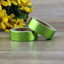 1X green Foil Washi Tape Japanese Paper 1.5cm*10m Kawaii Scrapbooking Tools Masking Tape Metallic Wedding Diy Decorative Tapes цена и фото