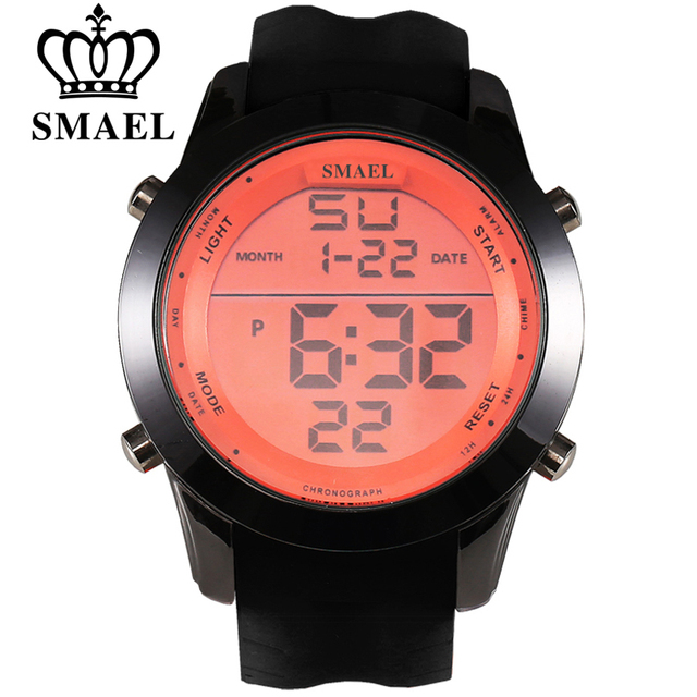 SMAEL Luxury Brand Mens Sports Watches Waterproof Digital LED Military Watch Men Fashion Casual Electronics Wristwatches Clock
