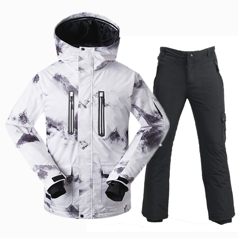 GSOU SNOW Winter Ski Suit Men Waterproof 10K Warm Snowboarding Suits Breathable Outdoor Mountain Skiing Suit Ski Jacket Set Male woman snow jacket outdoor sports ski suit set waterproof windproof 30 warm snowboarding jacket pant ski suit set winter coat