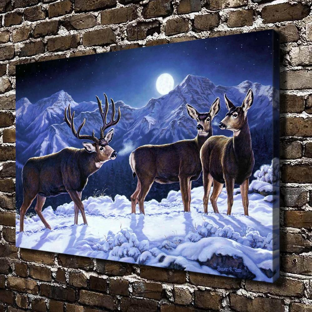 5749b5cdff7a0 A0667 الثلوج العالم الطبيعي مشهد الحيوان الغزلان. HD قماش طباعة ديكور  المنزل غرفة المعيشة جدار الصور الفن اللوحة