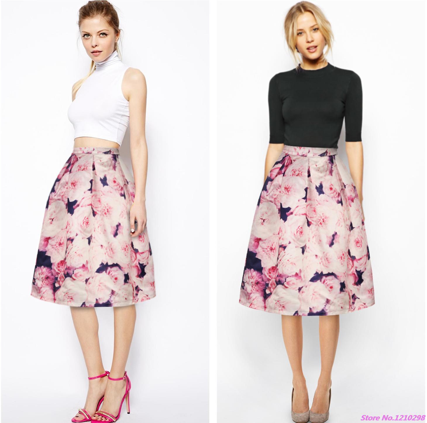 5f7000920 Faldas Vintage con estampado de rosas para mujer, flores rosas ...