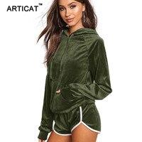 Articat Casual Velvet Hooded Women Tracksuits 2017 Autumn Two Piece Set Long Sleeve Pullover Pockets Sweatshirt