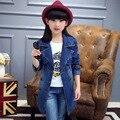 Niñas Chaqueta de Mezclilla de Moda Trench Coat Para Las Muchachas Ropa Niños Jeans Niños Outwear primavera Otoño Trajes Ropa Tops B224
