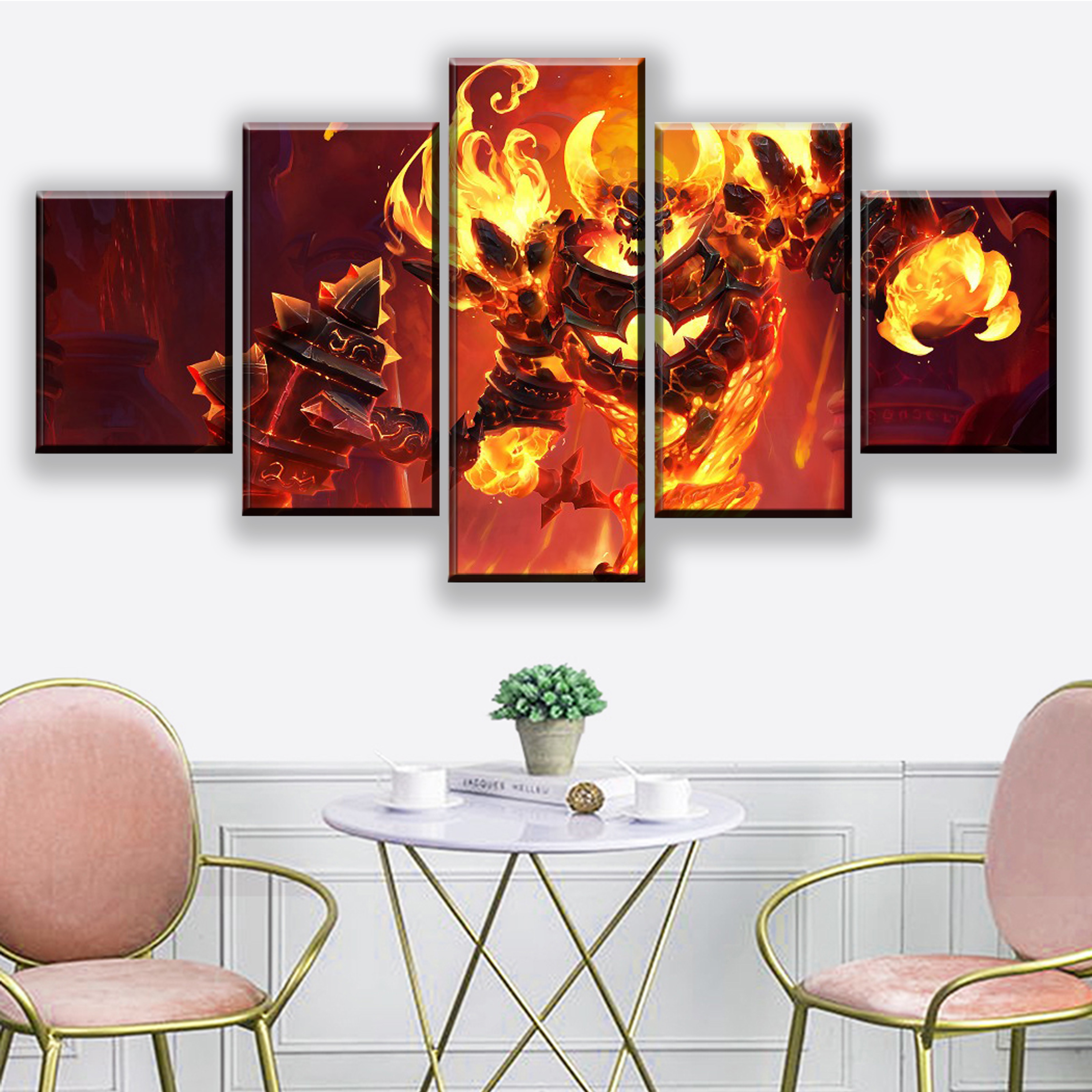 Modular Wall Art Framework Decor 5 Piece Game Heroes of the Storm Poster Ragnaros Painting Living Room Canvas HD Print Picture in Painting Calligraphy from Home Garden